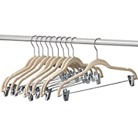 Home-it Pack Clothes Hangers with clips IVORY Velvet Hangers use for skirt hangers Clothes Hanger pants hangers Ultra Thin No Slip