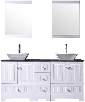 BATHJOY 60 White Double Bathroom Vanity Cabinets and Square Ceramic Vessel Sinks w Mirrors Faucet Drain Combo