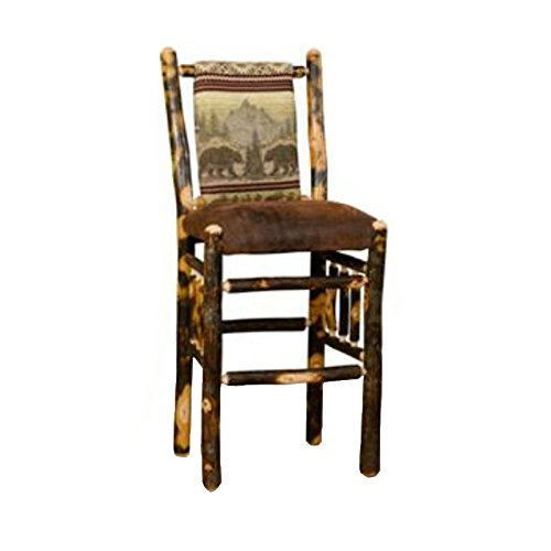Hickory Rustic Bar Stool - Furniture Barn USA Set of Two Rustic Hickory Straight Back Stools-Bar Height-Wild Horses Fabric
