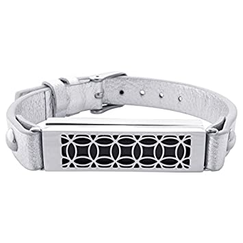 fitjewels Flex 2 Jewelry – Fitbit Bracelet Hyde 2 – Stainless Steel and Real Leather – Flex 2 Replacement Band – Available Colors Gold, Rose Gold, Black and Silver