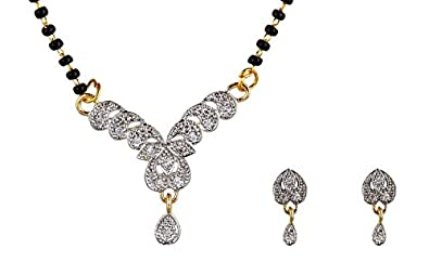 d0ae3a6b56 Image Unavailable. Image not available for. Colour: Fabula Jewellery White  Gold-Plating Mangalsutra & Earrings Set ...