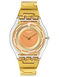 Swatch Women's 34mm Gold-Tone Steel Bracelet Plastic Case Quartz Pink Dial Analog Watch SFE104G