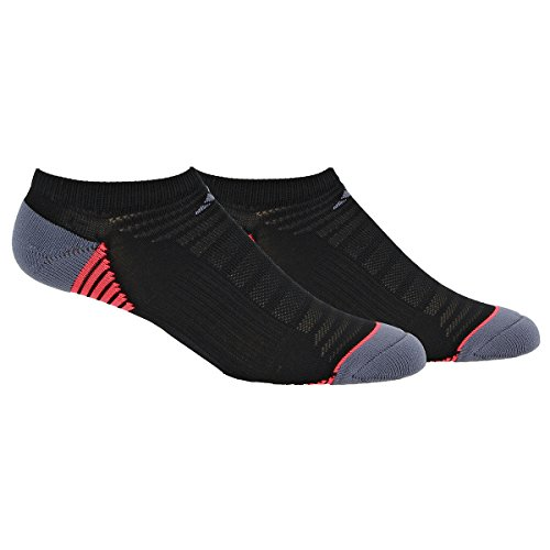 adidas Women's Superlite Speed Mesh No Show Socks (2 Pack), Black/Onyx/Flash Red, Medium