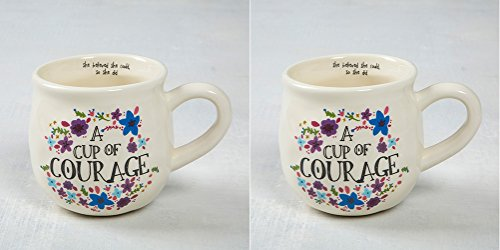 Courage Mug - Natural Life Set of Two Cup of Courage Happy Mugs