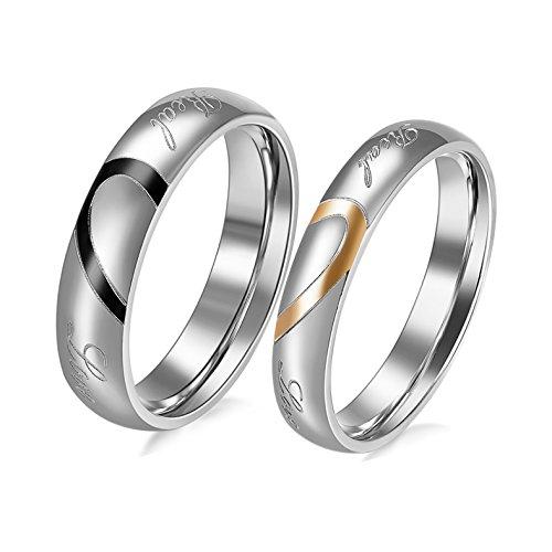 nouvelle collection c96cc b5ddf JewelryWe Bijoux Lot de 2 Bague Homme Femme Appariement Coeur