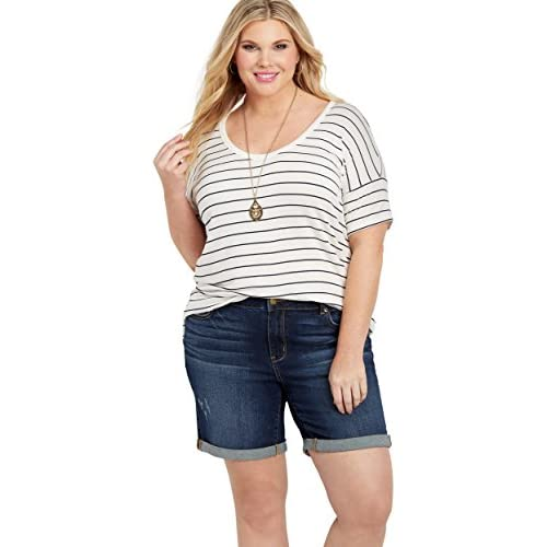 8a8c62fc0 lovely maurices Women's Plus Size Dark Wash Rolled Bermuda Shorts ...