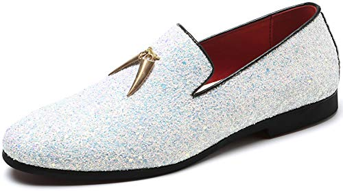 Andy J.K. Men's Modern Glitter Tuxedo Slip-on Loafers Luxury Metallic Sequins Textured Wedding Prom Dress Shoes (10, - Tuxedo Shoe White