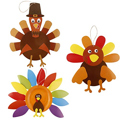 Thanksgiving Turkey Craft Kits, DIY Festive Fall Thanksgiving Party Game School Activities and Door Hanging Ornament Decoration Supplies for Kids and Adults, 3 Pack -