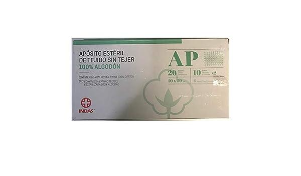 INDAS GASAS ESTERIL DE ALGODON SIN TEJER 10X20 CM 20 UNIDADES: Amazon.es: Salud y cuidado personal