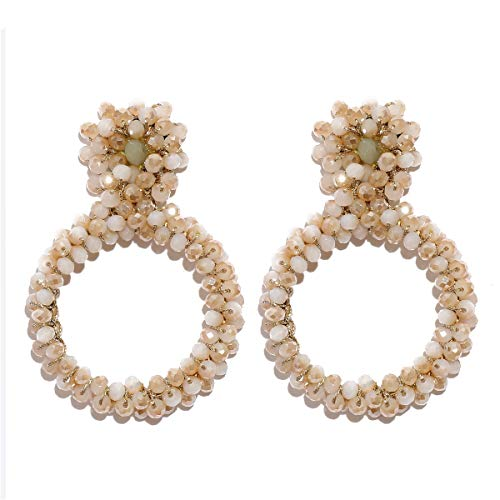 MOOCHI Ivory Crystal Beads Cricles Vintage Statement Fringe Ear Drop Dangle Bohemian Earrings