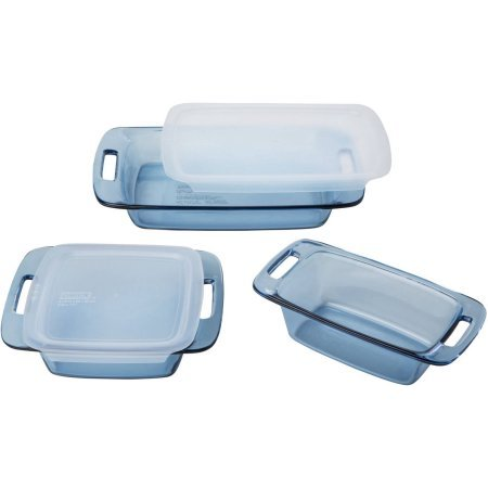 Pyrex Atlantic Blue Cooking Set, 5-Piece, Glass is preheated oven, microwave, fridge, freezer and dishwasher safe
