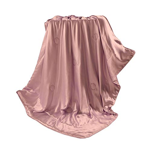 THXSILK Silk Blanket, Silk Throws, Silk Blanket Cover, Sofa Throws-Ultra Soft, Breathable -100% Top Grade Mulberry Silk, Travel/Toddler Size, Charm Pink ()