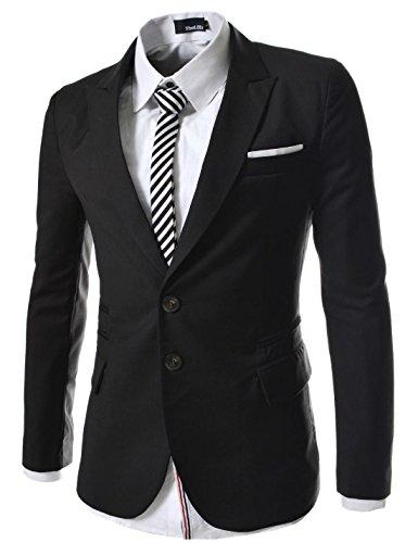 (RJK) TheLees Mens casual peak lapels 2 button Jacket