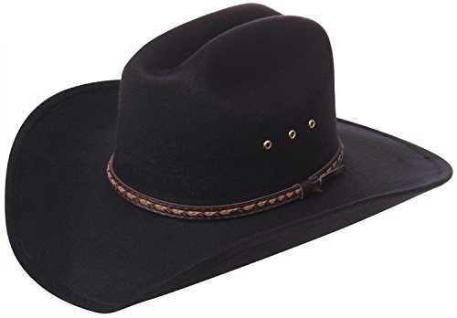 Enimay Faux Felt Western Style Cowboy Cowgirl Hat Plain Black Small | Medium