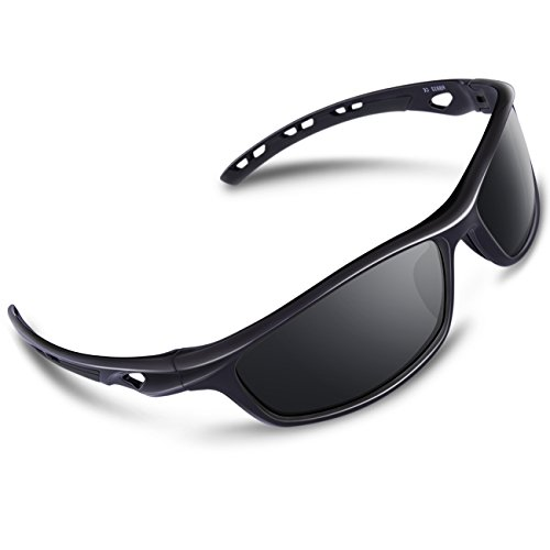 RIVBOS Polarized Sports Sunglasses Driving Sun Glasses for Men Women Tr 90 Unbreakable Frame for Cycling Baseball Running Rb833 (Black&black)