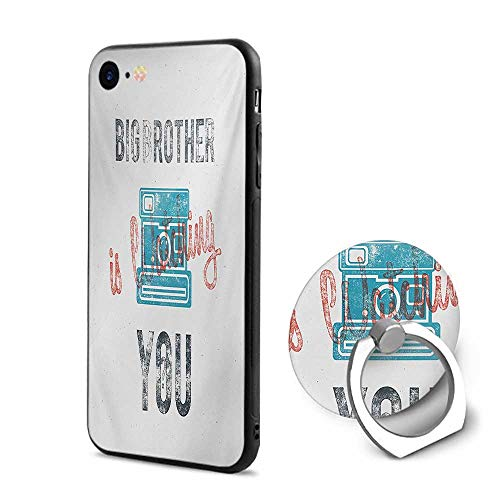 Vintage iPhone 6/iPhone 6s Cases,Half Toned Big Brother Quote with Old-Fashion Analogue Camera Icon Book Web Print Blue Grey,Mobile Phone Shell Ring Bracket (Analogue Icon Watch)