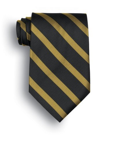 Signature Stripes Polyester Tie - Worchester - Black, Gold