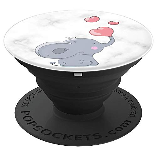 - Cute baby Elephant on black & white Marble Blows pink Hearts - PopSockets Grip and Stand for Phones and Tablets
