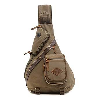 Mens Bag Multi-function Canvas Bag Large Capacity Chest Bag Shoulder Bag Dual-use Single Shoulder Men's Messenger Bag Trend Men's Bag High capacity (Color : Army green, Size : Free size)