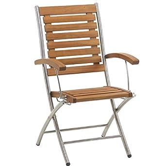 chaise de jardin en acacia et inox - lot de 2 - avec accoudoir ...