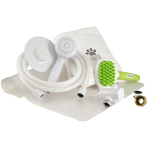 Less Hand Sprayer (Kleen Freak Pet Shower Deluxe Bundle – Handheld Showerhead with 8' Hose, Microfiber Towel, Grooming Brush, Great For Dog Showers)