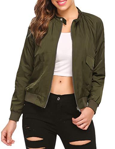 Elover Women's Casual Loose Raglan Sleeve Zipper Short Bomber Jacket Coats Flight Jacket Army Green XXL ()