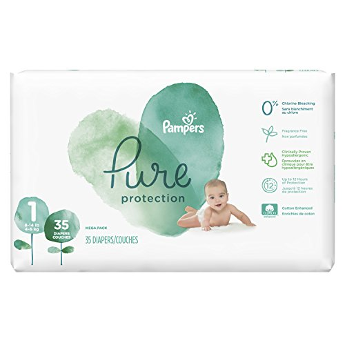 Pampers Pure Protection Newborn Disposable Baby Diapers, Size 1 (8-14 lb), 35 Count