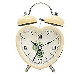 Alarm Clock Leaves Heart-Shaped Mute Cute Sleepy Lazy Night Light Double Bell Modern Fashion Simple Bed Beautiful Home Creative Personality 4 Color Optional 9.5cm12.5CM MUMUJIN (Color : Beige)
