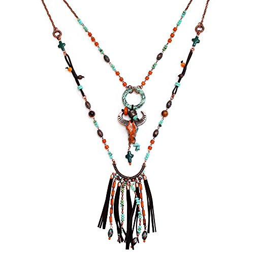 Treska Santa Fe Style Long Necklace with Cow Skull (Santa Fe Turquoise Necklace)