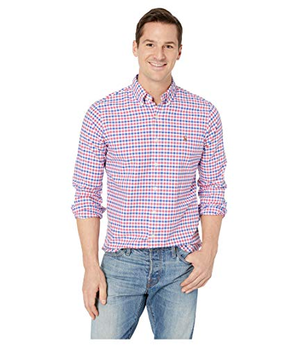 Ralph Lauren Men Solid Sport Oxford Shirt (Large, Red/White/Blue Check)