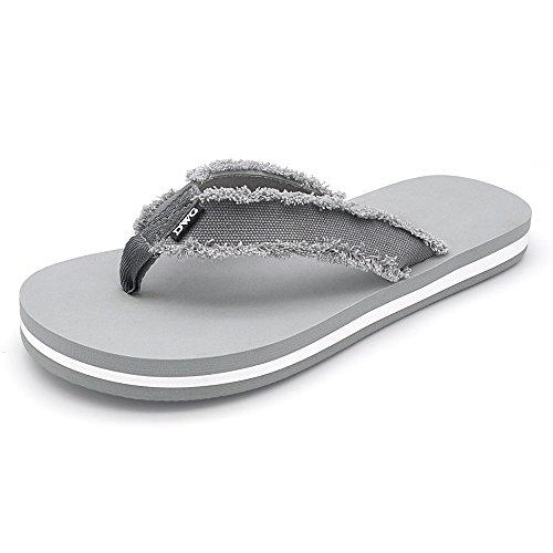Men's Flip Flops Beach Sandals Lightweight EVA Sole Comfort Thongs(12,Grey) by DWG