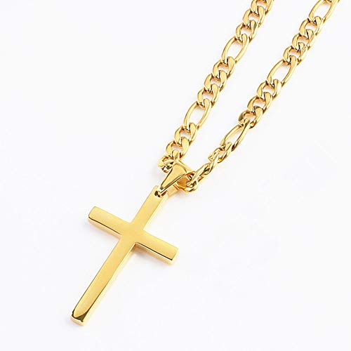 - FZTN Jewelry Gold Cross Religious Necklace for Men Women Teen Boys 18 Inch Flat Figaro Chain Necklace 18K Gold Plated Stainless Steel Fashion Jewelry