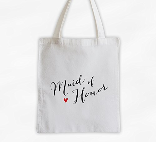Maid of Honor with Heart Cotton Canvas Tote Bag - Handwritten Script Bridal Party Attendants Gift (3013-MH) ()