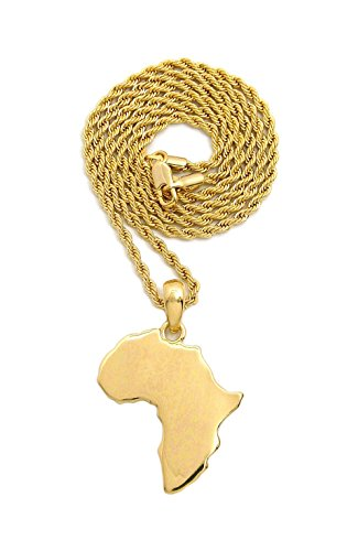 Fashion 21 Unisex Polished Africa Map Shape Pendant 18'', 20'',24'' Various Chain Necklace in Gold, Silver Tone (Gold / 2mm 20'' Rope Chain) by Fashion 21