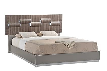 Amazon.com: Global Furniture ADEL (119A)-QB Bed, Grey High Gloss ...