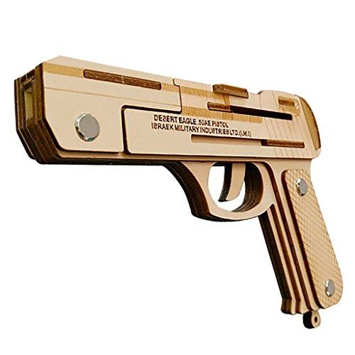 Jaswass Wooden Desert Eagle Rubber Band Gun Pistol Handgun 3D Puzzle Toys for Kids 6+ and Adults