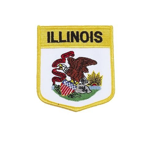 (Illinois USA State Shield Flag Iron on Patch Crest Badge .. 3 X 3 1/2 Inches ... New )