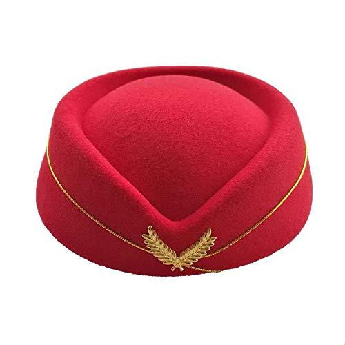 Women Felt Air Hostesses Beret Hat Halloween Party Cap Airline Stewardess Role Play Dress Up Hat Uniform Costumes,Red