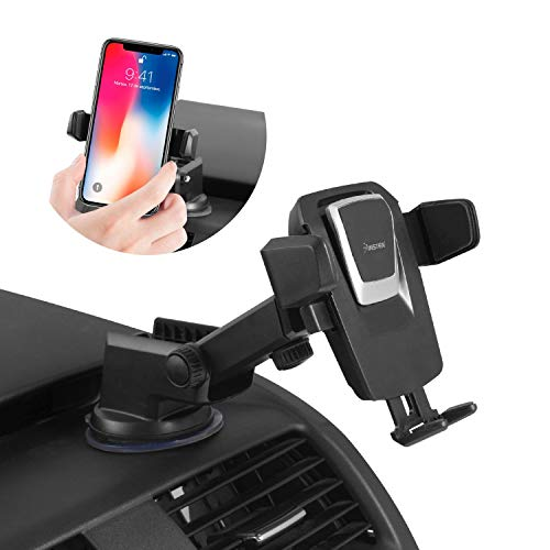 Insten Dashboard & Windshield Car Phone Mount Holder, Secure Suction Extendable Arm w/360 Rotation, Universal Quick Snap Phone Holder Stand Compatible with iPhone X XS Max 8 7 6 6S Plus 5 5S and More