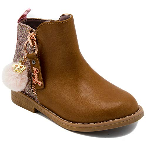 Juicy Couture Leather Pink (Juicy Couture Kids JC Lil Napa Girls Two-Tone Tan & Gold Zip-Up Ankle Boot 5 Toddler)