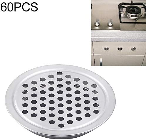 ホームデコレーション 60 PCSは、リトル穴で平らな面内閣ラウンドエアーベントステンレスルーバーグリルカバーの通気孔を35MM 家具の足