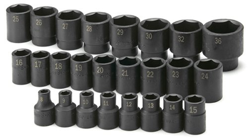 SK 4048 15-Piece 1//2-Inch Drive 6 Point Metric Impact Socket Set SK Hand Tools