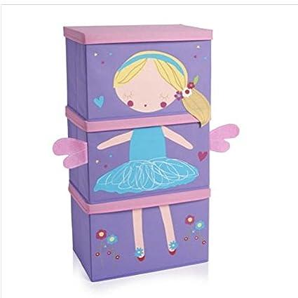 Kids 3 unidades apilables caja de almacenaje Niñas Niños Dormitorio/ropa de cama dormitorio conjuntos
