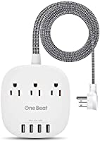 Desktop Power Strip with 3 Outlet 4 USB Ports 4.5A, Flat Plug and 5 ft Long Braided Extension Cords for Cruise Ship...