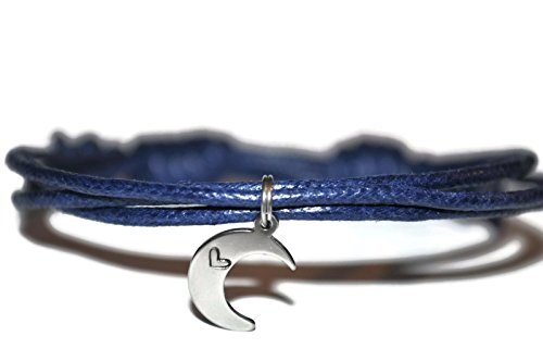 Stainless steel moon heart waxed cord sliding knot bracelet and note card