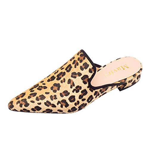 MAVIRS Mules for Women, Womens Leopard Velvet Backless Slip On Loafers Embroidery Mule Slippers