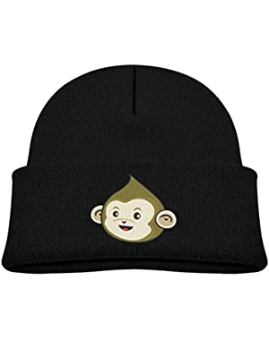Kids Knitted Beanies Hat Green Monkey Winter Hat Knitted Skull Cap for Boys Girls Blue