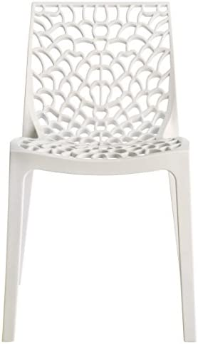 Upon Gruvyer Indoor Outdoor Dining Chairs, from Italy, Stackable, Strong 2 Chairs White