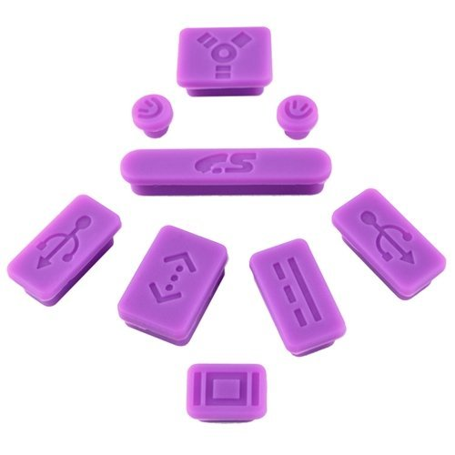 niceEshop(TM) Silicon Anti-Dust Plug Cover Stopper For Apple MacBook Pro Air (9 Pieces) -Purple