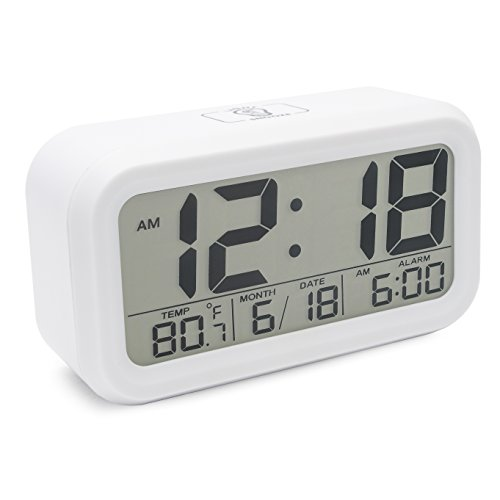 JCC Innovation Night Vision with Touch Button Easy Read Digital Desk Alarm Clock Bedside Wake Up Alarm with 2 Level Brightness, Snooze, Date and Temperature Display - Battery Operation (White)
